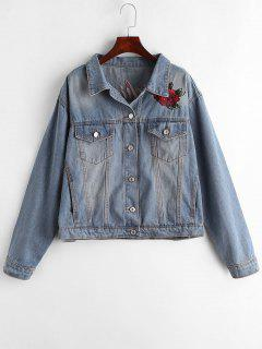 Denim Embroidered Button Up Jacket - Jeans Blue Xl