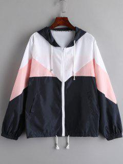 Color Block Hooded Windbreak Jacket - Pig Pink Xl