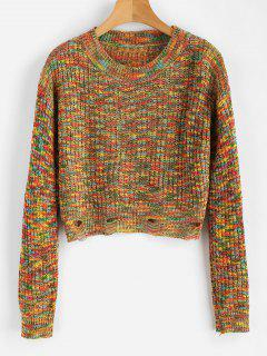 Colorful Heathered Ripped Sweater - Multi