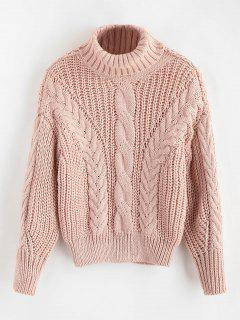 Turtleneck Chunky Cable Knitted Sweater - Pink