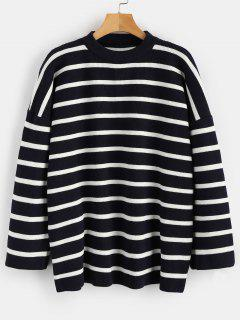 Tunic Oversized Striped Sweater - Black