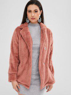 Snap Button Plain Faux Fur Coat - Lipstick Pink S