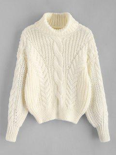 Turtleneck Chunky Cable Knitted Sweater - Warm White