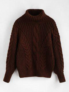 Turtleneck Chunky Cable Knitted Sweater - Deep Coffee