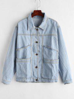 Button Up Pocket Jean Jacket - Denim Blue L