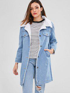 Faux Shearling Lining Denim Coat - Denim Blue S