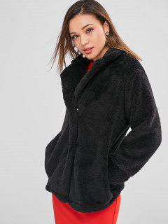Snap Button Plain Faux Fur Coat - Black M