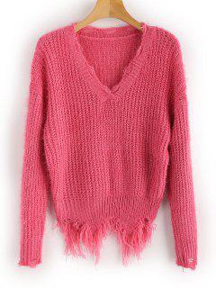 Ripped Fringed Fuzzy Sweater - Deep Pink