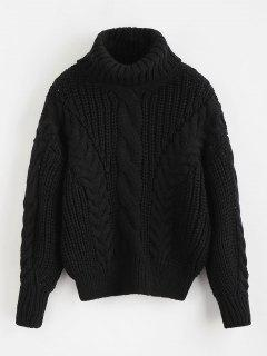 Turtleneck Chunky Cable Knitted Sweater - Black
