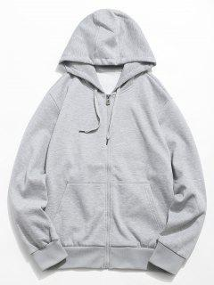 Solid Color Hooded Jacket - Light Gray S