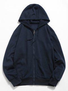 Solid Color Hooded Jacket - Dark Slate Blue S