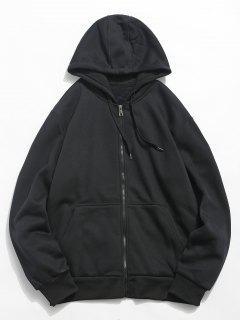 Solid Color Hooded Jacket - Black L