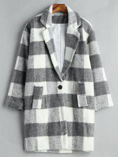 One Buttoned Wool Blend Coat - Multi Xl