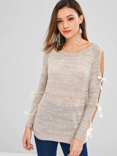 Raglan Sleeve Bowknot Cutout Jumper Sweater - Warm White
