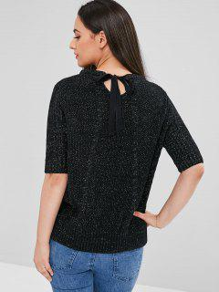 Cable Knit Bowtie Sparkle Sweater - Black