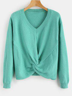 Front Twist V Neck Sweater - Light Sea Green