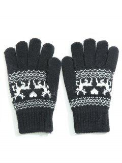 Winter Elk Heart Full Finger Gloves - Black