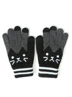 Vintage Cartoon Full Finger Gloves - Black