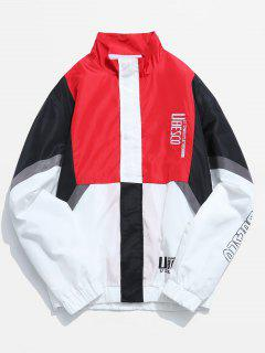 Letter Embroidery Color Block Splicing Jacket - Lava Red 3xl