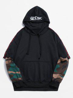 Camouflage Pattern False Two Piece Hoodie - Black L