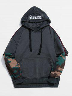 Camouflage Pattern False Two Piece Hoodie - Dark Slate Grey M