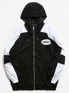 Graphic Color Block Zip Hooded Jacket - Black M