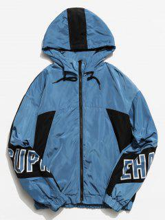 Graphic Color Block Hooded Jacket - Blue L