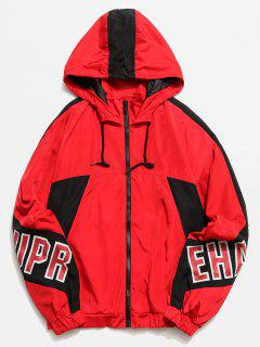 Graphic Color Block Hooded Jacket - Red L