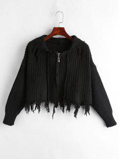 Frayed Zipper Hooded Cardigan - Black