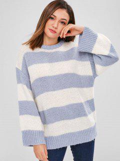 ZAFUL Striped Oversized Sweater - Blue Gray