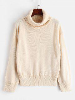 Suéter De Punto De Cuello Alto De Hombros Caídos - Albaricoque