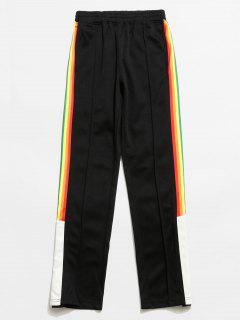 Colorful Striped Snap Button Design Casual Pants - Black M