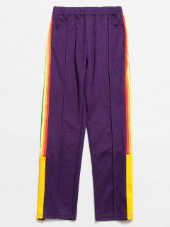 Colorful Striped Snap Button Design Casual Pants - Purple L
