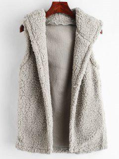 Fluffy Hooded Faux Shearling Gilet - Gray M