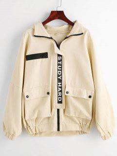Study Hard Better Me Hooded Jacket - Apricot Xl