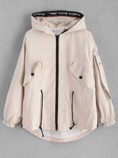 Letter Graphic Zip Up Hooded Jacket - Apricot Xl
