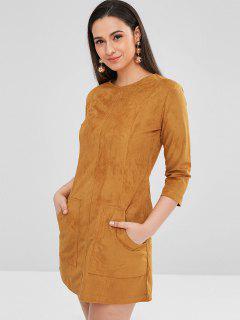 ZAFUL Pockets Faux Suede Mini Dress - Caramel M