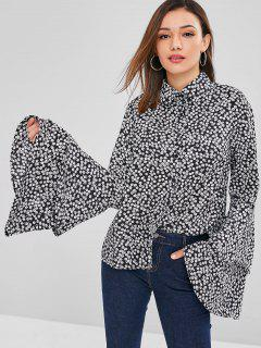 ZAFUL Tiny Floral Bell Sleeves Shirt - Black L