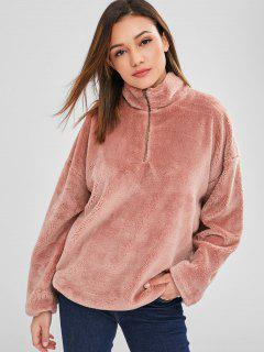 ZAFUL Zip Front Faux Shearling Teddy Sweatshirt - Khaki Rose M