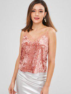ZAFUL Lace Panel Crushed Velvet Tank Top - Khaki Rose L