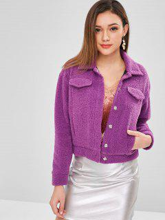 ZAFUL Snap Button Faux Shearling Teddy Coat - Violet S