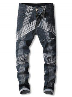 Destroyed Straight Leg Striped Jeans - Black 34