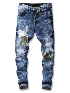 Straight Leg Patch Embellished Cuffed Jeans - Denim Dark Blue 32