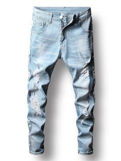 Zip Fly Distressed Letter Printed Jeans - Jeans Blue 32