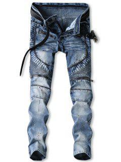 Zip Fly Splatter Paint Biker Jeans - Jeans Blue 34
