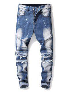 Ripped Cuffed Zipper Fly Biker Jeans - Blue Koi 38