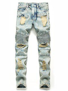 Zip Fly Destroyed Biker Jeans - Baby Blue 32