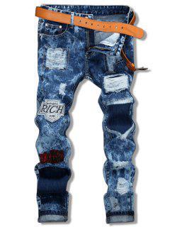 Star Embroidery Patch Embellished Cuffed Jeans - Denim Dark Blue 32