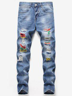 Destroyed Colorful Splashed Paint Jeans - Denim Blue 34