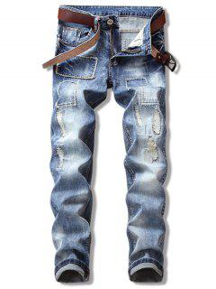 Ripped Straight Leg Cuffed Jeans - Denim Dark Blue 36